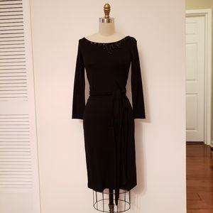 Jewel Neck Black Jersey Dress